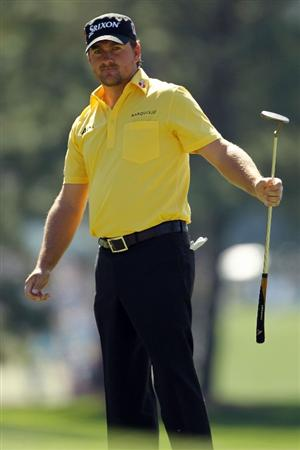 AUGUSTA, GA - APRIL 07:  Graeme McDowell of Northern Ireland watches a putt onto the first green during the first round of the 2011 Masters Tournament at Augusta National Golf Club on April 7, 2011 in Augusta, Georgia.  (Photo by Jamie Squire/Getty Images)