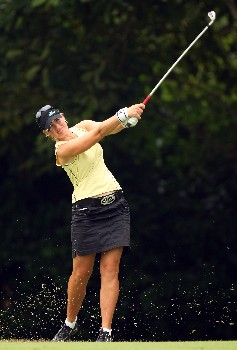 SINGAPORE - FEBRUARY 29:  Linda Wessberg of Sweden during the second round of the HSBC Women's Champions at the Tanah Merah Country Club on February 29, 2008 in Singapore.  (Photo by Ross Kinnaird/Getty Images)