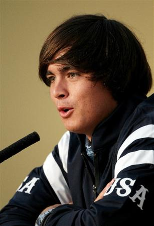 NEWPORT, WALES - SEPTEMBER 29:  Rickie Fowler of the USA speaks to the media before his practice round prior to the 2010 Ryder Cup at the Celtic Manor Resort on September 29, 2010 in Newport, Wales.  (Photo by Jamie Squire/Getty Images)