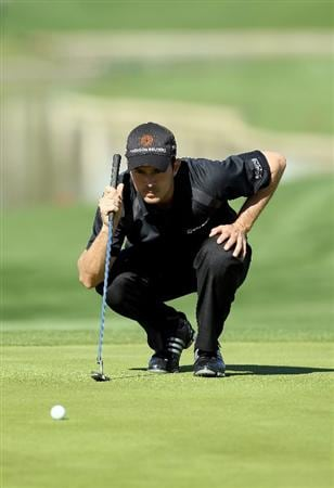LA QUINTA, CA - JANUARY 25:  Mike Weir of Canada lines up a putt on the seventh hole during the final round of the Bob Hope Classic at the Palmer Private Course at PGA West on January 25, 2010 in La Quinta, California.  (Photo by Jeff Gross/Getty Images)