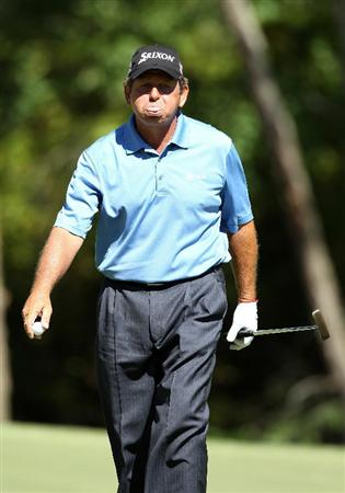 CONOVER, NC - OCTOBER 02:  Fulton Allem of South Africa reacts after making a par putt on the sixth hole green during the second round of the Ensure Classic at the Rock Barn Golf & Spa on October 2, 2010 in Conover, North Carolina.  (Photo by Christian Petersen/Getty Images)