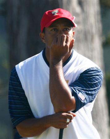 SAN FRANCISCO - OCTOBER 09:  Tiger Woods of the USA Team waits on the tenth hole during the Day Two Fourball Matches of The Presidents Cup at Harding Park Golf Course on October 9, 2009 in San Francisco, California.  (Photo by Scott Halleran/Getty Images)