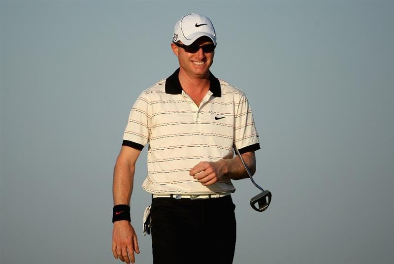 VILAMOURA, PORTUGAL - OCTOBER 16:  Simon Dyson of England smiles on the tenth hole during the second round of the Portugal Masters at the Oceanico Victoria Golf Course on October 16, 2009 in Vilamoura, Portugal.  (Photo by Andrew Redington/Getty Images)