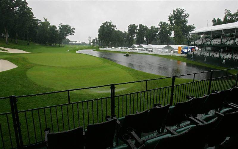 SILVIS, IL - JULY 10:  A view of the 18th green from a skybox as storms cause the suspension of play during the second round of the John Deere Classic at TPC Deere Run held on July 10, 2009 in Silvis, Illinois.  (Photo by Michael Cohen/Getty Images)