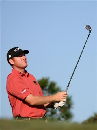 LAKE BUENA VISTA, FL - NOVEMBER 07:  Troy Matteson tees off on the 13th hole during the secind round at the Childrens Miracle Network Classic at Disney Palm on November 7, 2008 in Lake Buena Vista, Florida.   (Photo by Marc Serota/Getty Images)