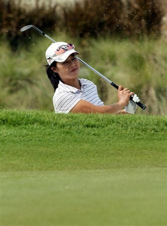 KUALA LUMPUR, MALAYSIA - OCTOBER 20 : Na On Min of Korea Republic watches her bunker shot on the 18th hole during the Official Practice on October 20, 2010 held at the KLGCC Golf Course in Kuala Lumpur, Malaysia (Photo by Stanley Chou/Getty Images)