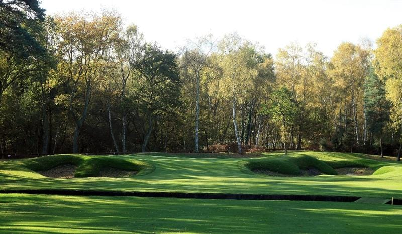 VIRGINIA WATER, UNITED KINGDOM - NOVEMBER 02: The new green and greenside bunkers on the par 5, 12th hole during work to re-model and replace the greens on the West Course at the Wentworth Club on November 2, 2009 in Virginia Water, England. (Photo by David Cannon/Getty Images)