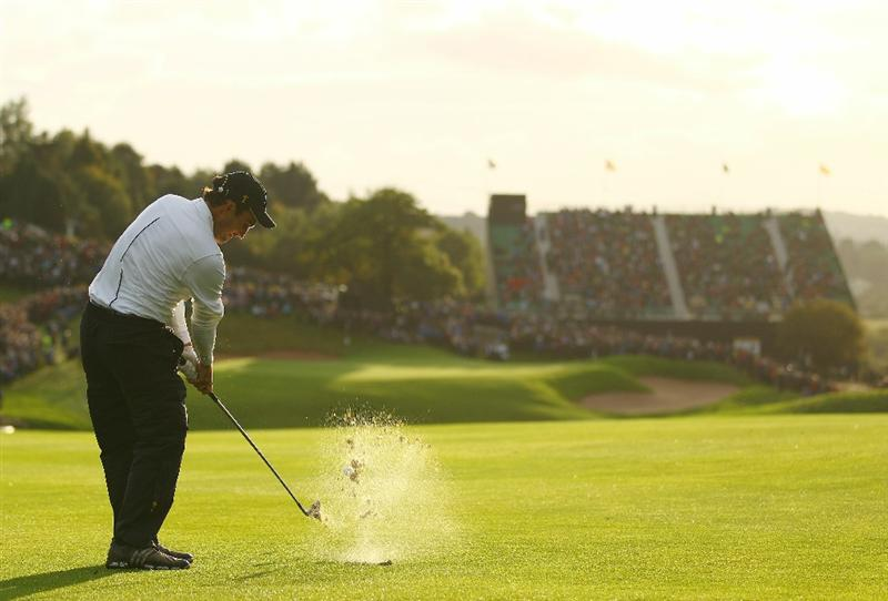NEWPORT, WALES - OCTOBER 03:  Edoardo Molinari of Europe hits a shot on the 18th hole during the Fourball & Foursome Matches during the 2010 Ryder Cup at the Celtic Manor Resort on October 3, 2010 in Newport, Wales.  (Photo by Richard Heathcote/Getty Images)