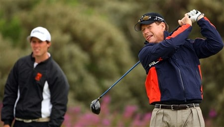 SOUTHPORT, UNITED KINGDOM - JULY 16:  Tom Watson of USA tees off as Amateur Reinier Saxton of The Netherlands looks on during the third practice round of the 137th Open Championship on July 16, 2008 at Royal Birkdale Golf Club, Southport, England.  (Photo by Andrew Redington/Getty Images)