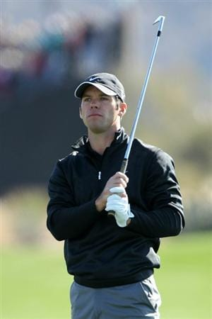 MARANA, AZ - FEBRUARY 24:  Paul Casey of England watches his second shot on the first hole during the second round of the Accenture Match Play Championship at the Ritz-Carlton Golf Club on February 24, 2011 in Marana, Arizona.  (Photo by Andy Lyons/Getty Images)