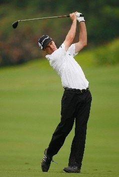 JAKARTA, INDONESIA - FEBRUARY 14:  Steve Alker of New Zealand plays an approach shot on the 15th hole during the first round of the 2008 Enjoy Jakarta Astro Indonesian Open at the Cengkareng Golf Club on February 14, 2008 in Jakarta, Indonesia.  (Photo by Stuart Franklin/Getty Images)