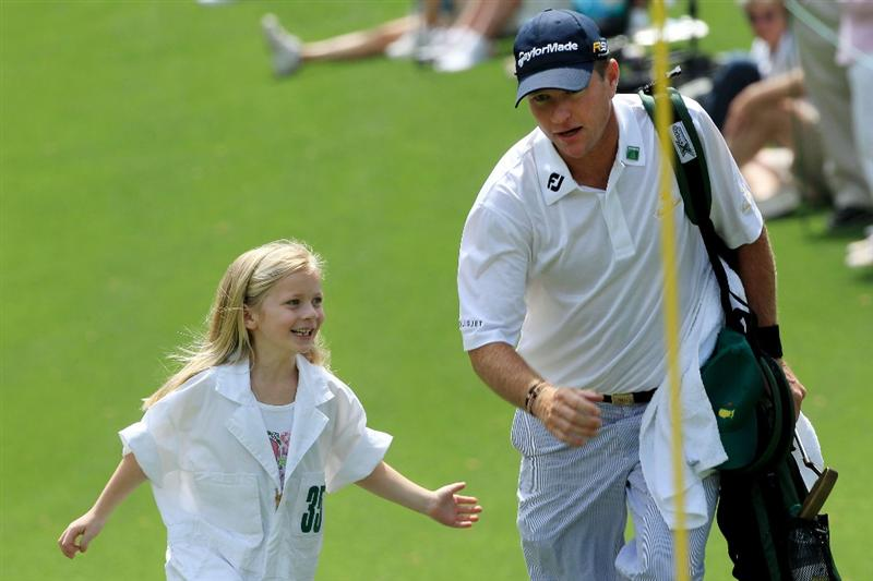AUGUSTA, GA - APRIL 07:  Scott Verplank walks with his daughter during the Par 3 Contest prior to the 2010 Masters Tournament at Augusta National Golf Club on April 7, 2010 in Augusta, Georgia.  (Photo by David Cannon/Getty Images)