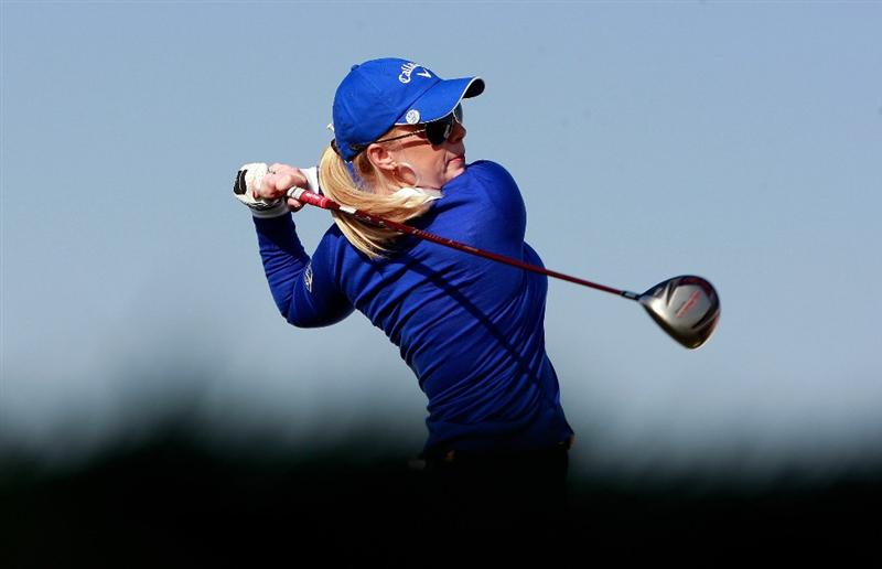INCHEON, SOUTH KOREA - OCTOBER 29:  Morgan Pressel of United States hits a tee shot on the 18th hole during the 2010 LPGA Hana Bank Championship at Sky 72 Golf Club on October 29, 2010 in Incheon, South Korea.  (Photo by Chung Sung-Jun/Getty Images)