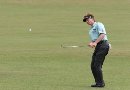 Brad Faxon on the 1st fairway during the final round of the 2005 British Open Golf Championship at the Royal and Ancient Golf Club in St. Andrews, Scotland on July 17, 2005Photo by Phil Inglis/WireImage.com