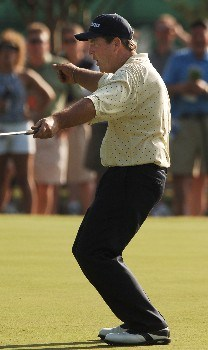 Tom Purtzer reacts after barely missing a putt on the ninth green during the first round of the PGA'S Bank of Amercia Colonial at Colonial Country Club in Forth Worth, Texas May 19, 2005.Photo by Steve Grayson/WireImage.com