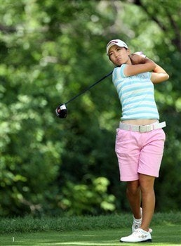 EDINA, MN - JUNE 28:  Momoko Ueda of Japan hits her tee shot at the 3rd hole during the third round of the 2008 U.S. Women's Open Championship held at Interlachen Country Club on June 28, 2008 in Edina, Minnesota.  (Photo by David Cannon/Getty Images)