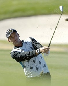 Jesper Parnevik hits a short approach shot during the fourth round of the Bob Hope Chrysler Classic at The Classic Club, Jan. 21, 2006 in Palm Desert, California.Photo by Marc Feldman/WireImage.com