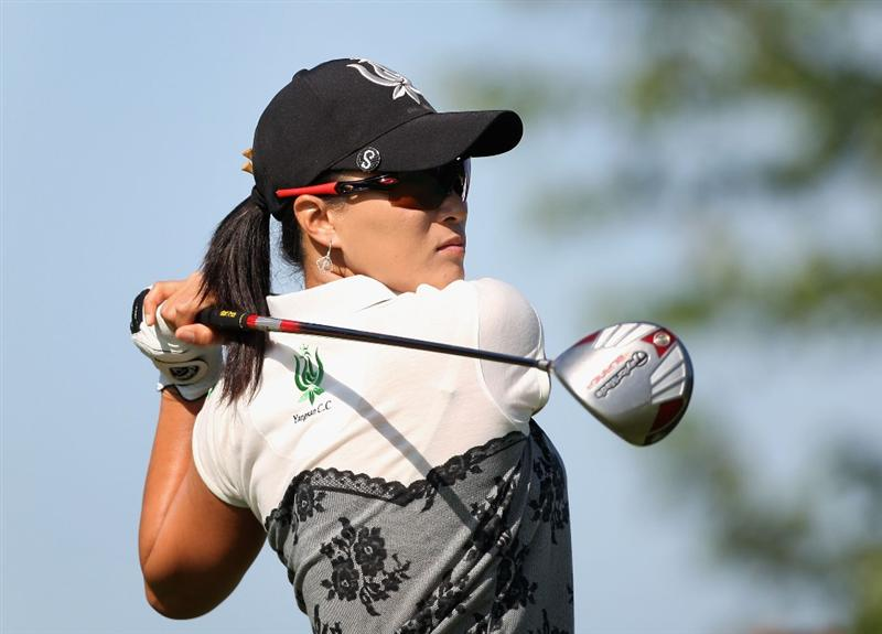 SPRINGFIELD, IL - JUNE 05:  Se Ri Pak of South Korea  hits a tee shot on the 10th hole during the second round of the LPGA State Farm Classic golf tournament at Panther Creek Country Club on June 5, 2009 in Springfield, Illinois.  (Photo by Christian Petersen/Getty Images)