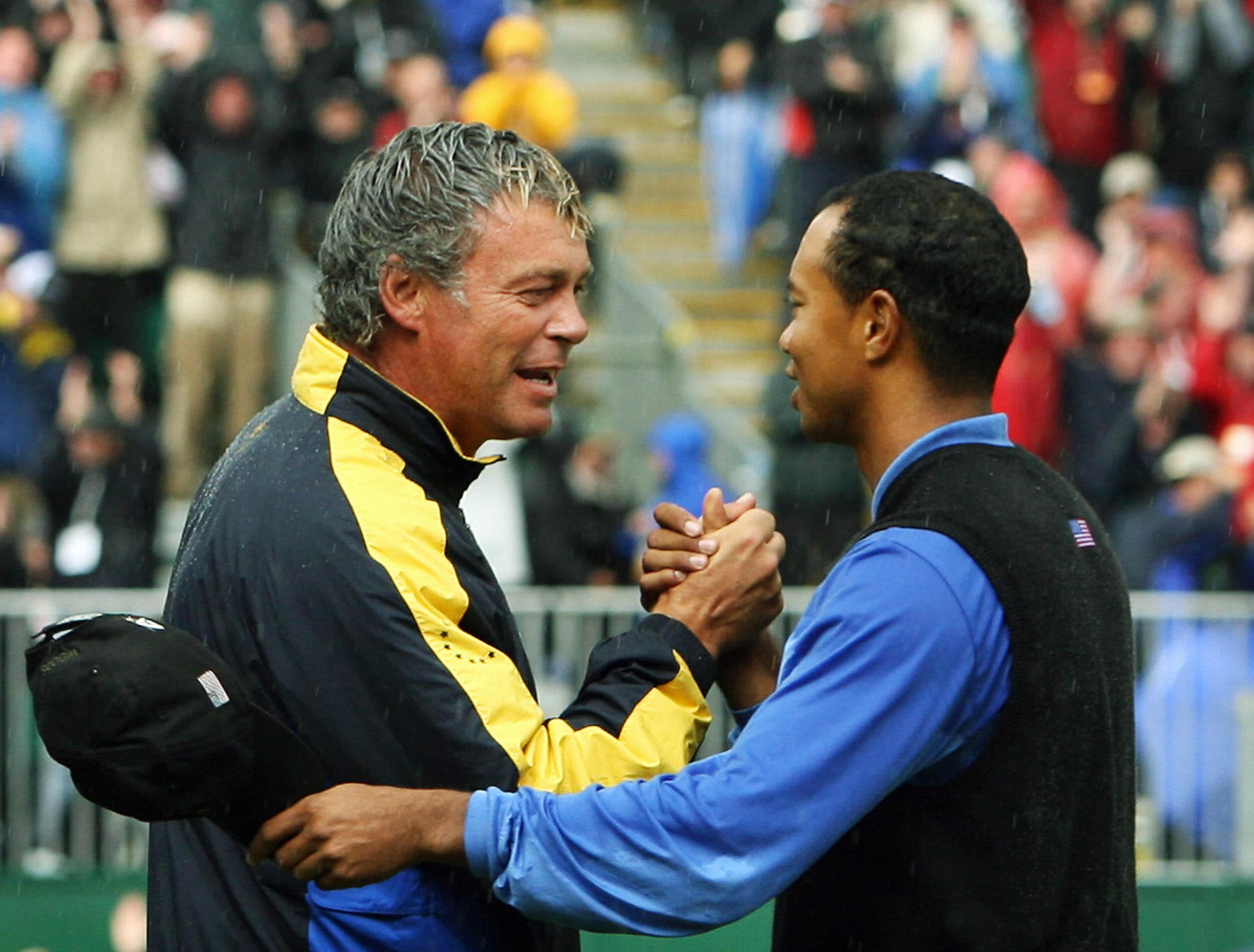 Darren Clarke with Tiger Woods at the 2006 Ryder Cup