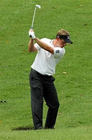 KUALA LUMPUR, MALAYSIA - OCTOBER 30: Luke Donald of England hits his 2nd shot on the 10th hole during day three of the CIMB Asia Pacific Classic at The MINES Resort & Golf Club on October 30, 2010 in Kuala Lumpur, Malaysia. (Photo by Stanley Chou/Getty Images)
