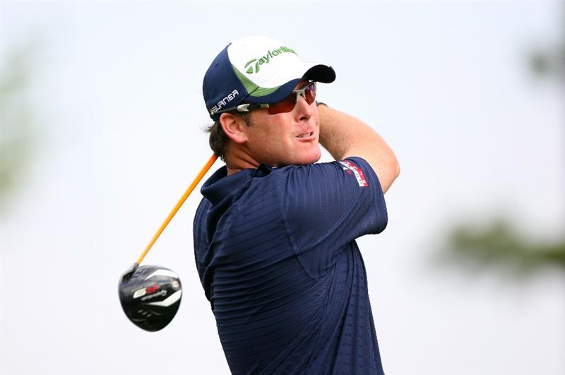 HUMBLE, TX - APRIL 1: D.A. Points hits his tee shot on the 11th hole during the first round of the Shell Houston Open at Redstone Golf Club on April 1, 2010 in Humble, Texas. (Photo by Hunter Martin/Getty Images)
