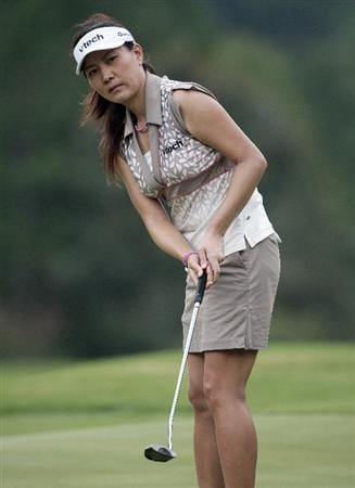 MOBILE, AL - SEPTEMBER 11:  Amy Hung of Taiwan watches her putt on the 9th hole during first round play in the Bell Micro LPGA Classic at Magnolia Grove Golf Course on September 11, 2008 in Mobile, Alabama.  (Photo by Dave Martin/Getty Images)