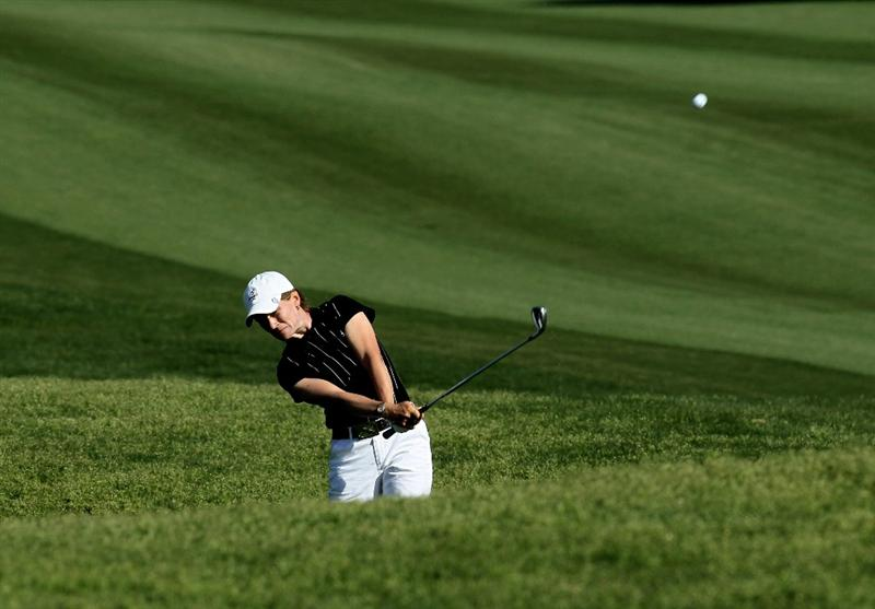 RANCHO MIRAGE, CA - APRIL 04:  Catriona Matthew of Scotland hits from the rough on the second hole during the final round of the Kraft Nabisco Championship at Mission Hills Country Club on April 4, 2010 in Rancho Mirage, California.  (Photo by Stephen Dunn/Getty Images)