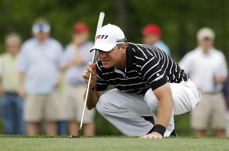 HUMBLE, TX - APRIL 02: Scott Verplank lines up a putt on the 15th green during the third round of the Shell Houston Open at Redstone Golf Club on April 2, 2011 in Humble, Texas.  (Photo by Michael Cohen/Getty Images)