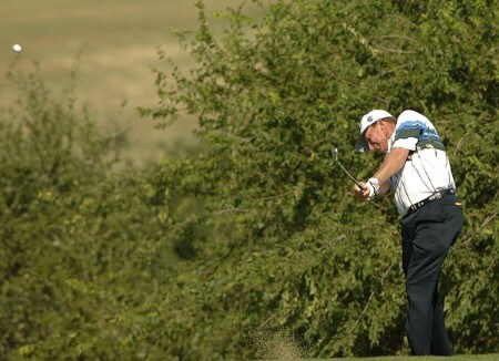 Woody Austin hits from the ninth fairway during the final round of the 2005 Valero Texas Open at La Cantera in at La Cantera Country Club in San Antonio, Texas September 25, 2005.Photo by Steve Grayson/WireImage.com