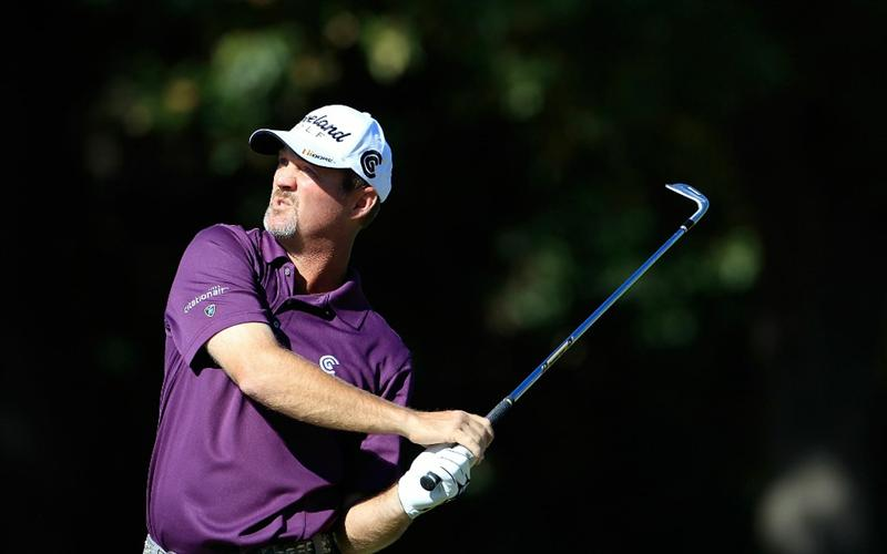 MADISON, MS - OCTOBER 01:  Jerry Kelly reacts to his shot during the second round of the Viking Classic held at Annandale Golf Club on October 1, 2010 in Madison, Mississippi.  (Photo by Michael Cohen/Getty Images)
