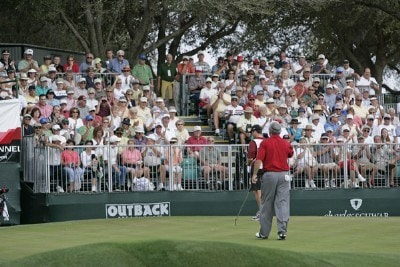 Hale Irwin acknowledges the gallery at #9 during the second round of the 2006 Outback Steakhouse Pro-Am held at TPC of Tampa Bay in Lutz, Florida, on February 25, 2006.Photo by: Chris Condon/PGA TOUR