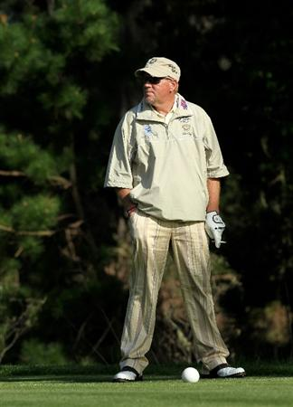 PEBBLE BEACH, CA - FEBRUARY 12:  John Daly waits on the teed on the eighth hole during the second round of the AT&T Pebble Beach National Pro-Am at Spyglass Hill Golf Course on February 12 2010 in Pebble Beach, California.  (Photo by Stephen Dunn/Getty Images)