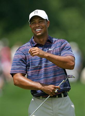 BETHESDA, MD - JULY 3 : Tiger Woods laughs on the sixth hole during the second round of the AT&T National hosted by Tiger Woods at Congressional Country Club on July 3, 2009 in Bethesda, Maryland. (Photo by Hunter Martin/Getty Images)