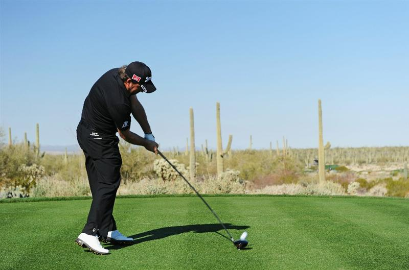 MARANA, AZ - FEBRUARY 24:  Graeme McDowell of Northern Ireland plays his tee shot on the fifth hole during the second round of the Accenture Match Play Championship at the Ritz-Carlton Golf Club on February 24, 2011 in Marana, Arizona.  (Photo by Stuart Franklin/Getty Images)