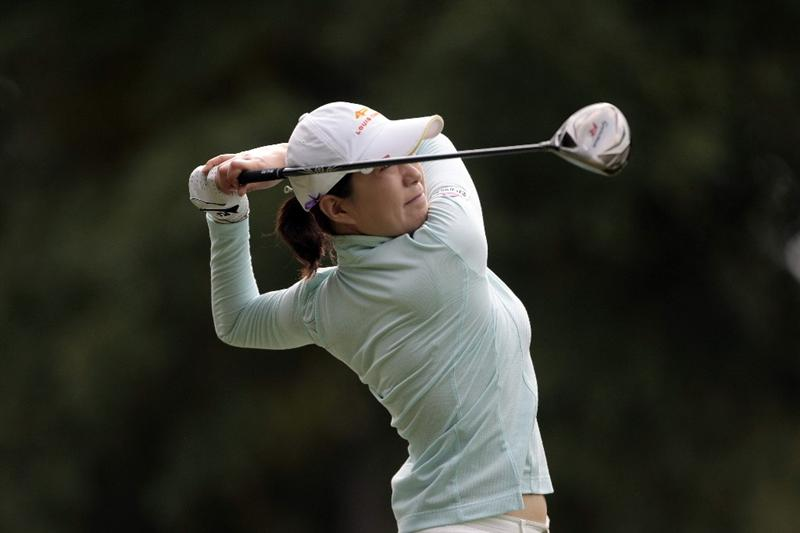MOBILE, AL - MAY 13: Shi Hyun Ahn of South Korea watches her drive from the 10th tee during first round play in Bell Micro LPGA Classic at the Magnolia Grove Golf Course on May 13, 2010 in Mobile, Alabama.  (Photo by Dave Martin/Getty Images)