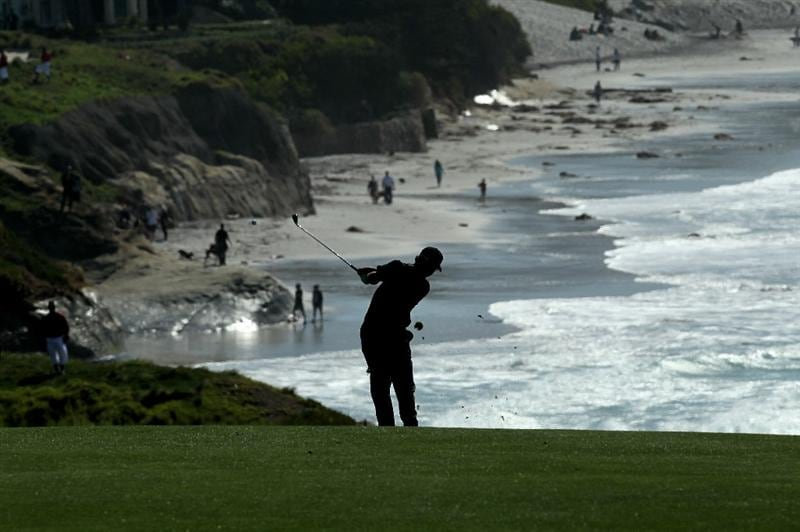 PEBBLE BEACH, CA - FEBRUARY 14:  Bryce Molder hits his second shot on the ninth hole during the final round of the AT&T Pebble Beach National Pro-Am at Pebble Beach Golf Links on February 14, 2010 in Pebble Beach, California.  (Photo by Stephen Dunn/Getty Images)