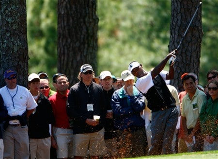 AUGUSTA, GA - APRIL 13:  Vijah Singh of Fiji hits a shot from the rough on the first hole during the final round of the 2008 Masters Tournament at Augusta National Golf Club on April 13, 2008 in Augusta, Georgia.  (Photo by Jamie Squire/Getty Images)