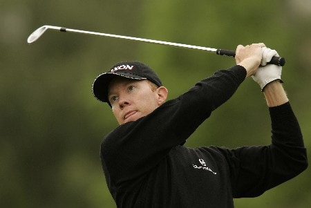 Brad Kennedy watches his tee shot during the final round of the 2005 Celtic Manor Wales Open at Celtic Manor's Roman Road course. June 5, 2005Photo by Pete Fontaine/WireImage.com