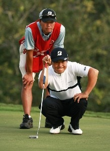 Shigeki Maruyama lines up a biride putt on the 18th hole that would have put him into a tie for the lead with Daniel Chopra during the final round of the Ginn Sur Mer Classic at Tesoro on October 29, 2007 in Port Saint Lucie, Florida. PGA TOUR - 2007 Ginn sur Mer Classic - Final RoundPhoto by Doug Benc/WireImage.com
