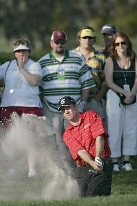 Rod Pampling plays from the bunker on the 14th hole in action during the third round of the Bay Hill Invitational presented by MasterCard at the Bay Hill Club in Orlando, Florida on March 18, 2006.Photo by Michael Cohen/WireImage.com
