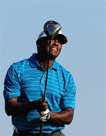 CHASKA, MN - AUGUST 14:  Vijay Singh of Fiji watches his tee shot on the 11th hole during the second round of the 91st PGA Championship at Hazeltine National Golf Club on August 14, 2009 in Chaska, Minnesota.  (Photo by Stuart Franklin/Getty Images)
