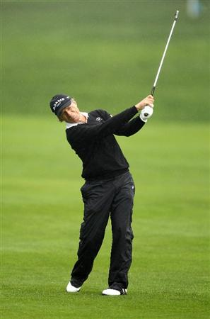 SAN FRANCISCO - NOVEMBER 07:  Bernhard Langer of Germany hits his second shot on the 6th hole during the final round of the Charles Schwab Cup Championship at Harding Park Golf Course on November 7, 2010 in San Francisco, California.  (Photo by Ezra Shaw/Getty Images)