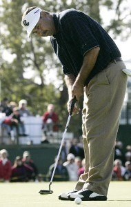 Brad Bryant watches his winning putt head to the hole  during the final round of the Toshiba Classic, March 19, 2006, held at Newport Beach Country Club, Newport Beach, California.Photo by Gregory Shamus/WireImage.com
