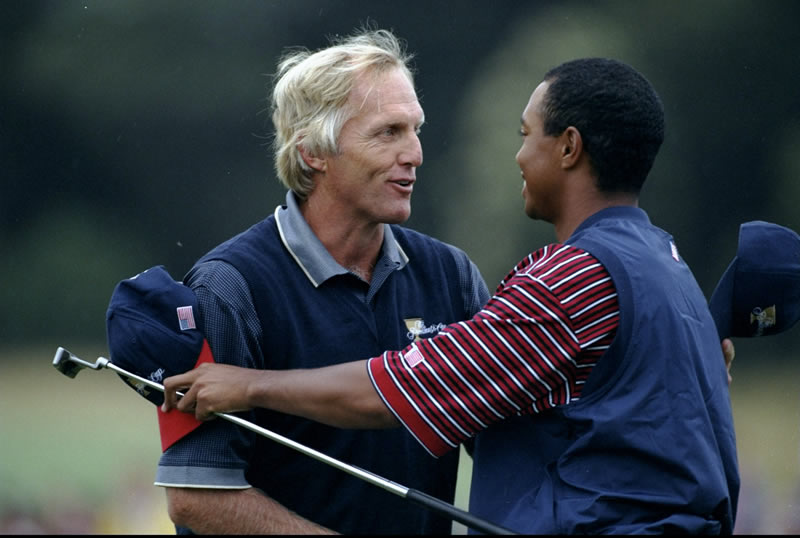 Greg Norman and Tiger Woods