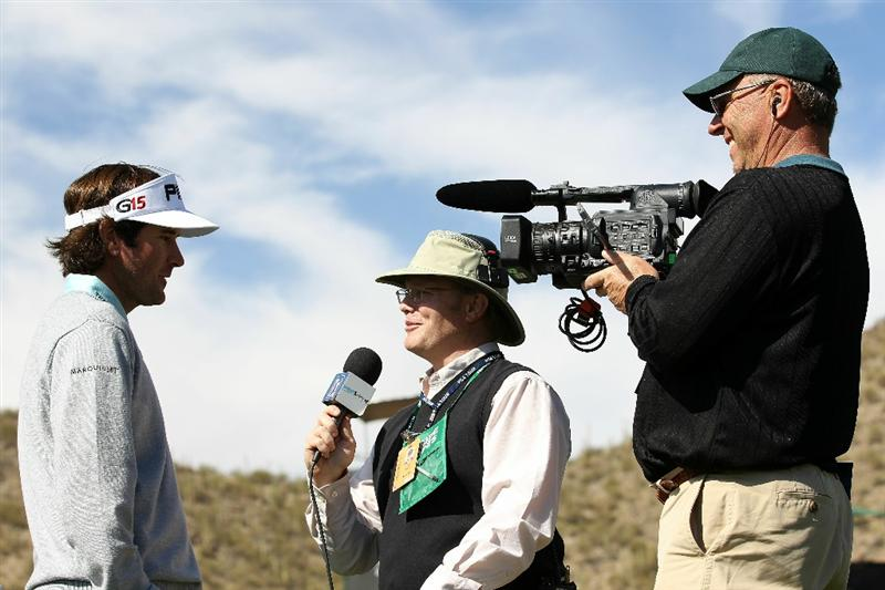 MARANA, AZ - FEBRUARY 25:  Bubba Watson (L) speaks to the media after winning his match on the 14th hole during the third round of the Accenture Match Play Championship at the Ritz-Carlton Golf Club on February 25, 2011 in Marana, Arizona.  (Photo by Sam Greenwood/Getty Images)