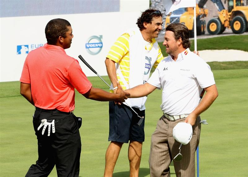 CASARES, SPAIN - MAY 20:  Graeme McDowell of Northern Ireland beats Jhonattan Vegas of Venezuela during the group stages of the Volvo World Match Play Championship at Finca Cortesin on May 20, 2011 in Casares, Spain.  (Photo by Ross Kinnaird/Getty Images)