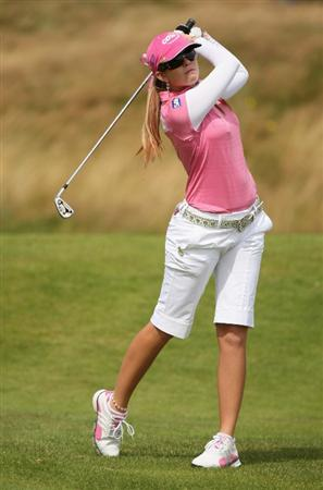 LYTHAM ST ANNES, ENGLAND - AUGUST 02:  Paula Creamer of USA hits her second shot on thre 3rd hole during the final round of the 2009 Ricoh Women's British Open Championship held at Royal Lytham St Annes Golf Club, on August 2, 2009 in Lytham St Annes, England.  (Photo by Warren Little/Getty Images)