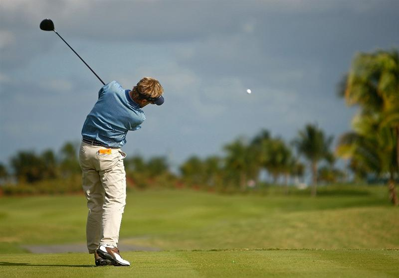 RIO GRANDE, PR - MARCH 12:  Brett Quigley hits his tee shot on the ninth hole during the first round of the 2009 Puerto Rico Open presented by Banco Popular on March 12, 2009 at the Trump International Golf Club in Rio Grande, Puerto Rico.  (Photo by Mike Ehrmann/Getty Images)