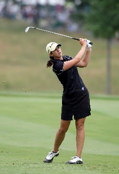 HAVRE DE GRACE, MD - JUNE 10:  Nicole Castrale of the USA hits her second shot at the par 4, 1st hole during the final round of the 2007 McDonald's LPGA Championship on June 10, 2007 at Bulle Rock Golf Course in Havre de Grace, Maryland.  (Photo by David Cannon/Getty Images)