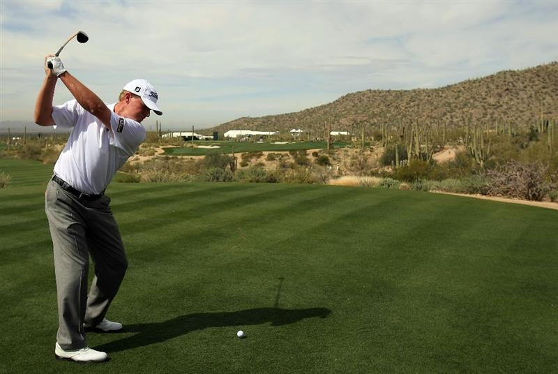 MARANA, AZ - FEBRUARY 23:  Steve Stricker hits a shot during a practice round prior to the start of the Accenture Match Play Championship at the Ritz-Carlton Golf Club at Dove Mountain on June 6, 2009 in Marana, Arizona.  (Photo by Scott Halleran/Getty Images)